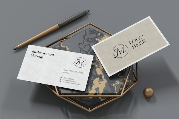Elegant business card mockup design in 3d rendering