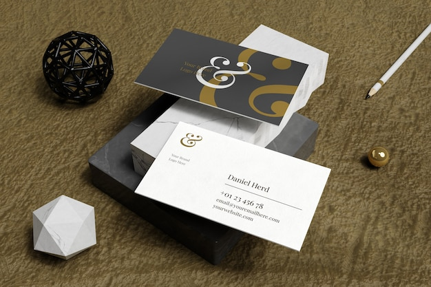 Elegant business card mockup in white marble and brown carpet