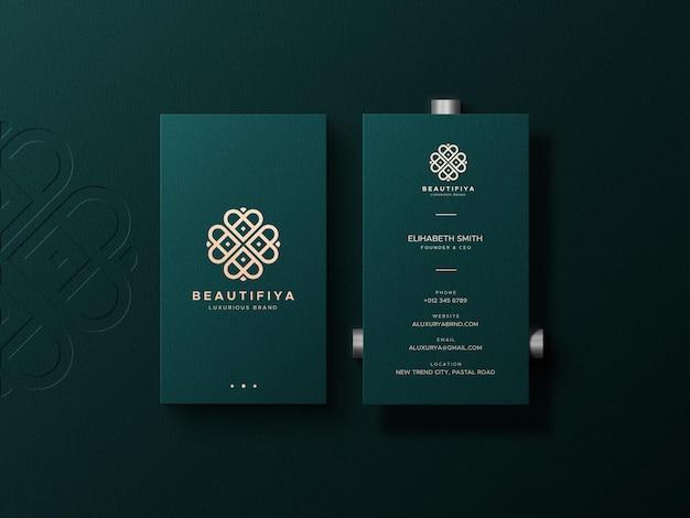 Elegant business card mockup with letterpress logo on background