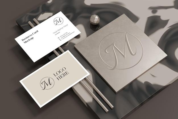 Elegant business card mockup with logo branding showcase in 3d rendering