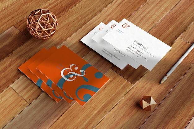 Elegant business card mockup in wooden floor