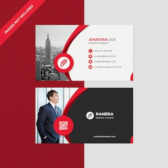 Elegant business card template with red shape