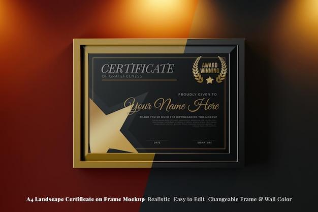 Elegant certificate on landscape frame mockup in fancy interior with warm light
