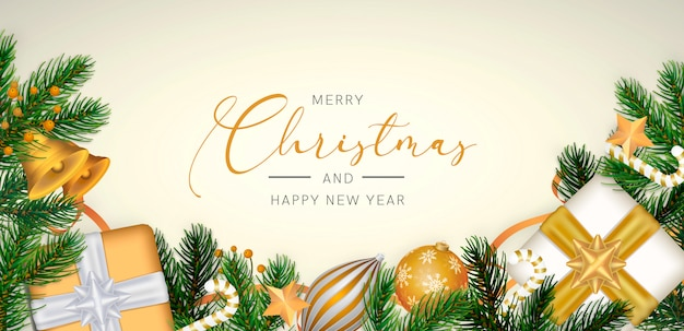 Elegant christmas background in realistic style with golden decoration