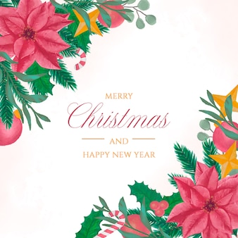 Elegant christmas background in watercolor style