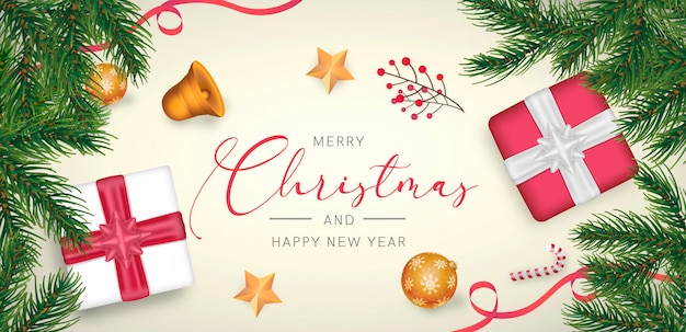 Элегантный новогодний фон с красно-золотой отделкой