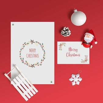Elegant christmas card mockup