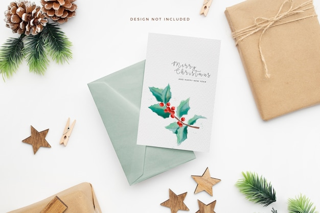 Elegant christmas stationery with pine cones and wooden stars