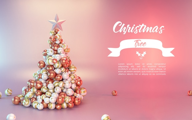 Elegant christmas tree mockup