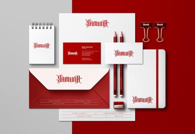 Elegant corporate identity scene creator & mockup with pressed print effect
