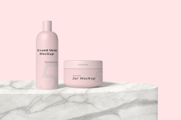 Elegant cream container and bottle cream mockup
