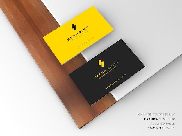 우아한 어둡고 노란색 명함 모형