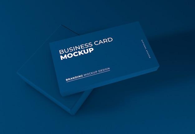 Elegant dark blue business card mockup