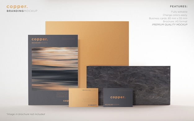 Elegant dark and copper branding stationery psd mockup