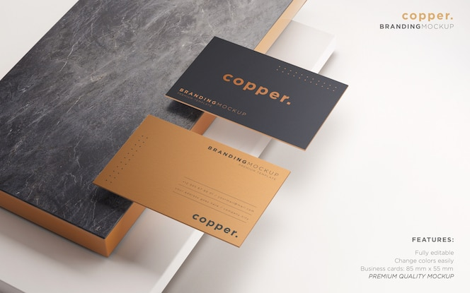 Elegant dark and copper business card psd mockup