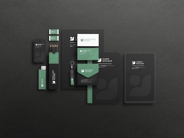 Elegant dark stationary set mockup