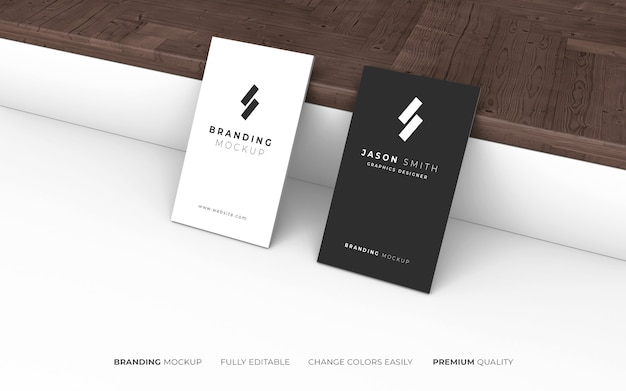 Elegant dark and white business card mockup