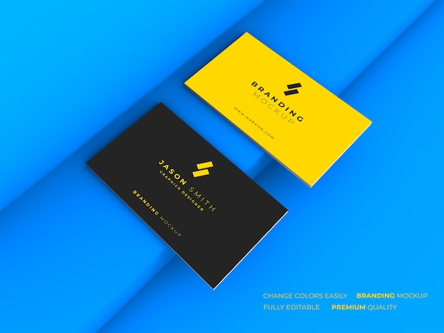 Elegant dark and yellow business card mockup