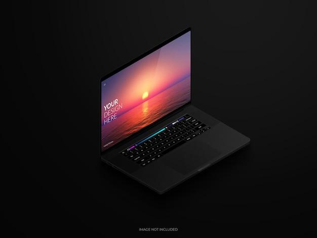 Elegant design of black laptop  mockup