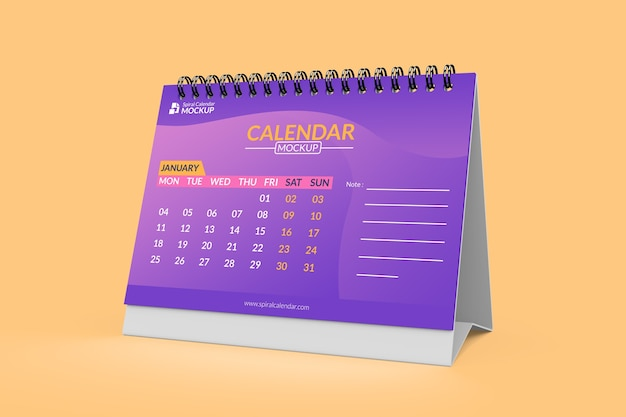 Elegant desk calendar left view mockup