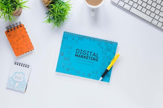 Elegant desk design with notebook mock-up
