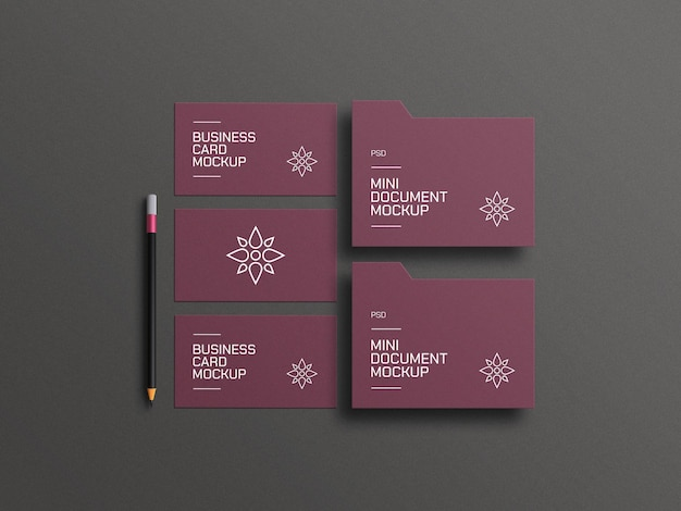 Elegant document with business card mockup