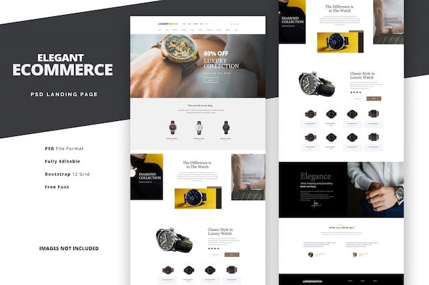 Elegant ecommerce template for online shopping landing page