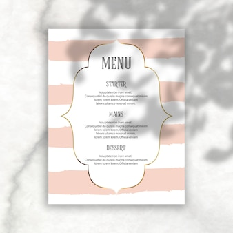 Elegant editable menu with shadow overlay