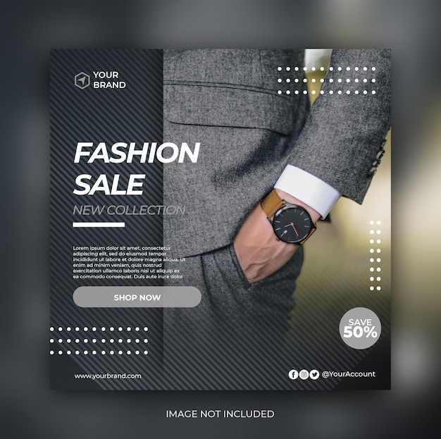 Elegant fashion sale banner or square flyer for social media post template