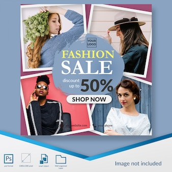 Elegant fashion sale discount offer square banner or instagram post template