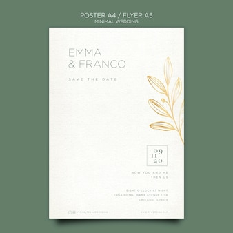 Elegant flyer template for wedding