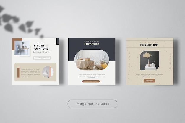Elegant furniture design instagram post template banner collection