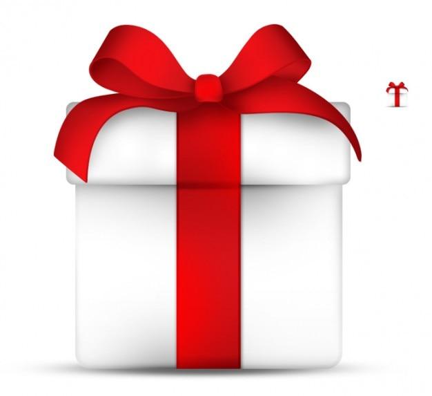 Elegant gift box with red ribbon