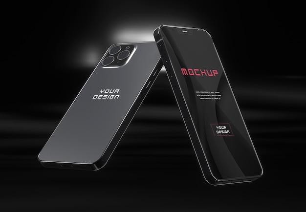 Элегантный глянцевый темный макет смартфона