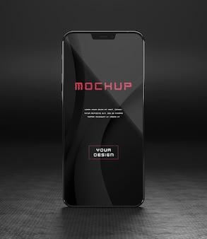 エレガントな光沢のある暗いスマートフォンのモックアップデザイン