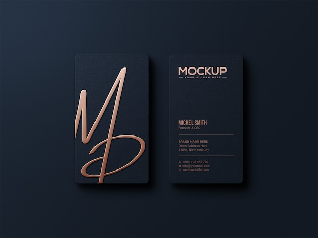Elegant gold foil logo mockup on dark business card