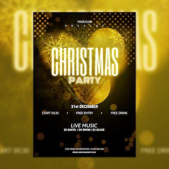 Elegant golden and black christmas party poster mockup