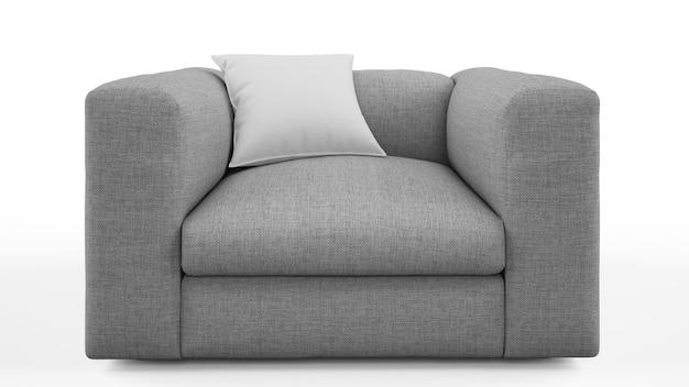Элегантное серое кресло с изолированной подушкой