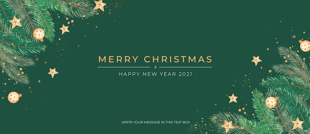 Elegant green christmas banner with golden ornaments