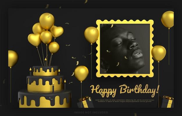 Instagramのソーシャルメディアの投稿テンプレートのモックアップのためのエレガントなお誕生日おめでとう招待ブラックゴールドカード