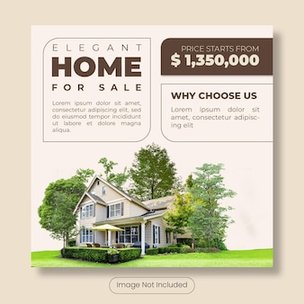 Elegant home for sale instagram post template banner