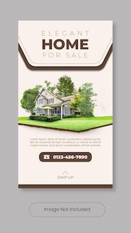 Elegant home for sale instagram stories template banner