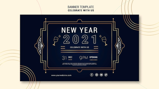 Elegant horizontal banner for new years party