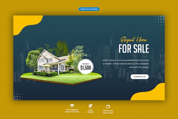 Элегантный дом для продажи веб-баннер шаблон