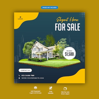Elegant house for sale banner template