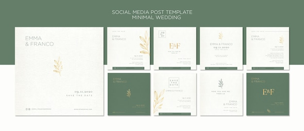 Elegant instagram post collection for wedding