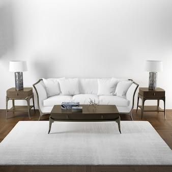 木製家具付きのリビングルームのエレガントなインテリアデザインのモックアップ