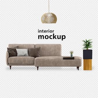 Elegant interior mockup 3d rendering