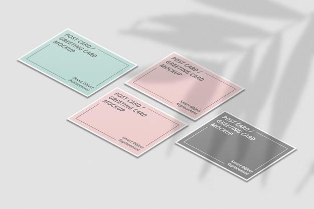 Elegant invitation or postcard mockup with shadow overlay