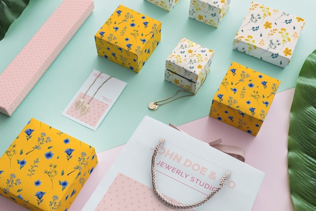 Elegant jewelry and packaging mockup